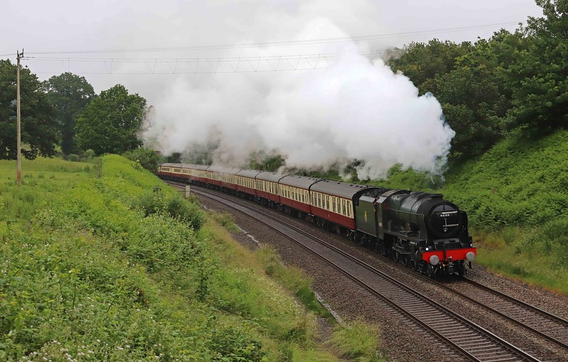 46100/47593, top-and-tail 07.51 Bristol Temple Meads-Kingswear, The English Riviera Express, Whiteball, 27-6-21. Via Bath and Westbury.
