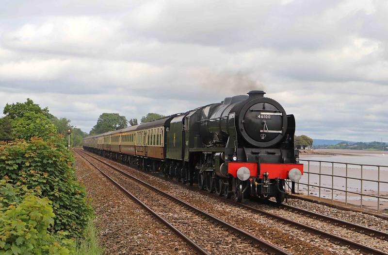 46100, 09.07 Bristol Temple Meads-Kingswear, English Riviera Express, Powderham, near Starcross, 6-6-21. 47805 at rear.