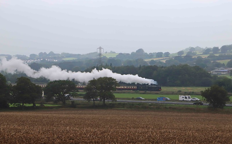 46100, 07.50 Kingswear-Cardiff Central, The Welshman, north of Tiverton Parkway Station, 14-9-21. 47805 at rear.