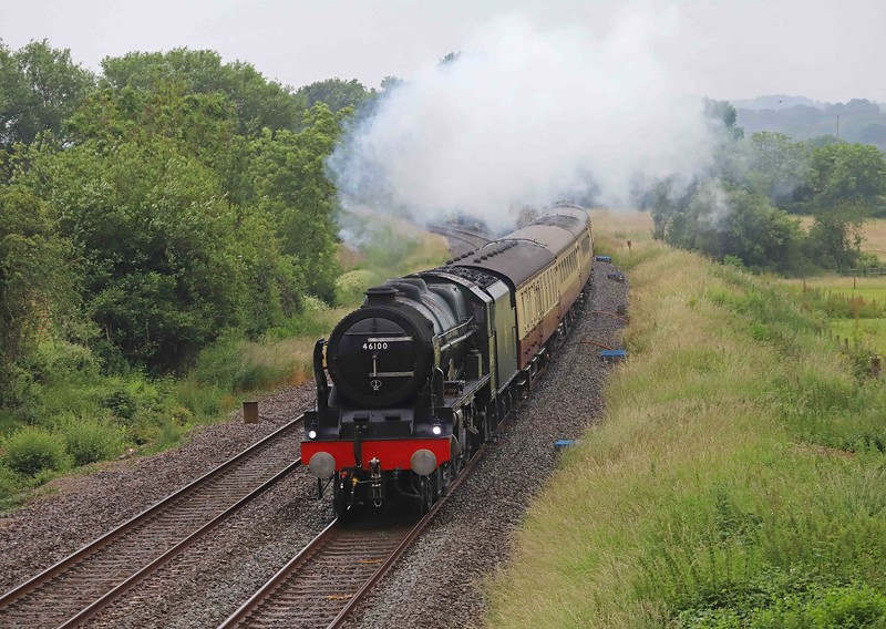 46100/47593, top-and-tail 16.50 Kingswear-Bristol Temple Meads, The English Riviera Express, Willand, near Tiverton, 27-6-21. Via Westbury and Bath.