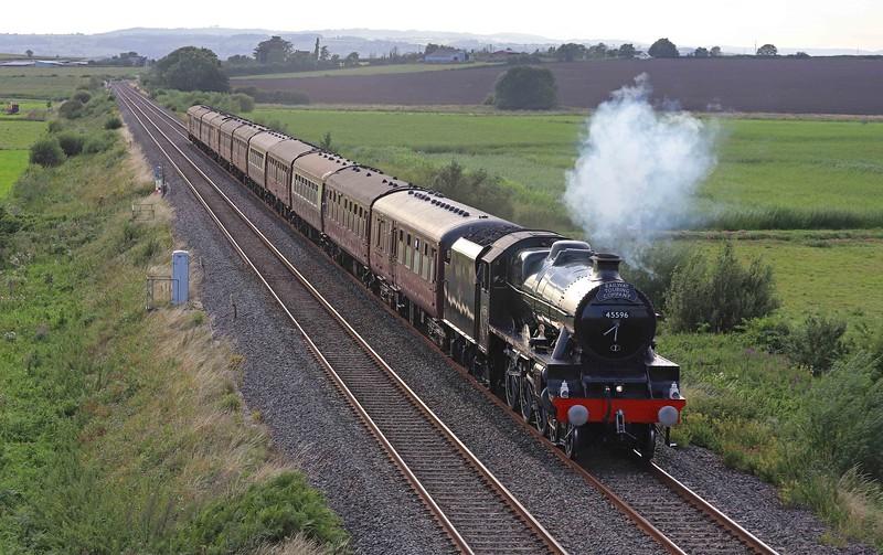 45596, 18.23 Bishops Lydeard-London Paddington, The West Somerset Steam Express, Oath, near Langport, 14-8-21.