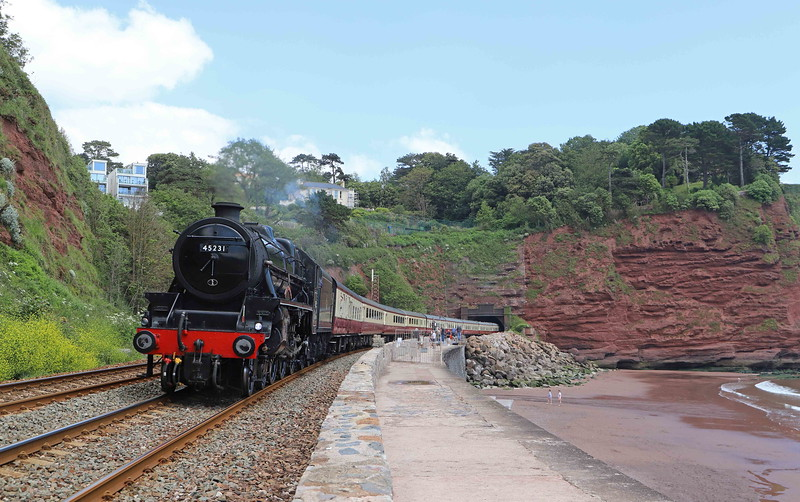 45231/47614, top-and-tail 09.49 Bristol Temple Meads-Kingswear, Torbay Riviera Express, Holcombe, near Teignbmouth, 23-6-21. Day tour  from Shrewsbury.