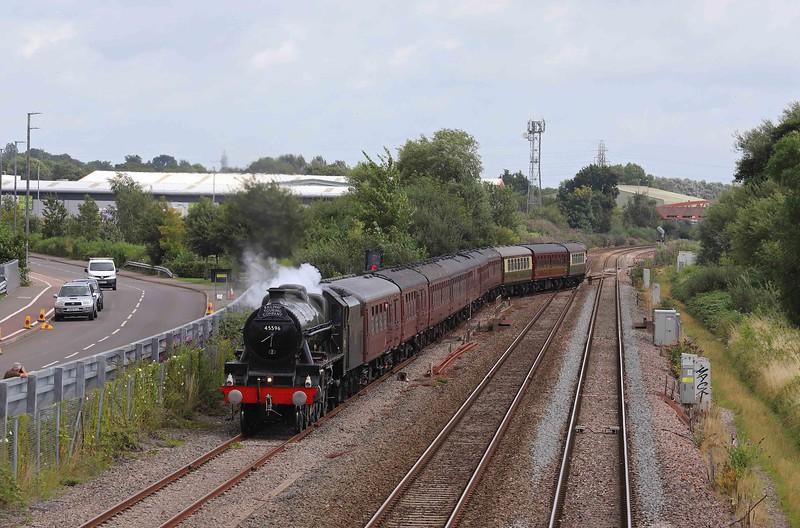 45596, 07.59 London Paddington-Bishops Lydeard, The West Somerset Steam Express, Norton Fitzwarren, near Taunton, 14-8-21.