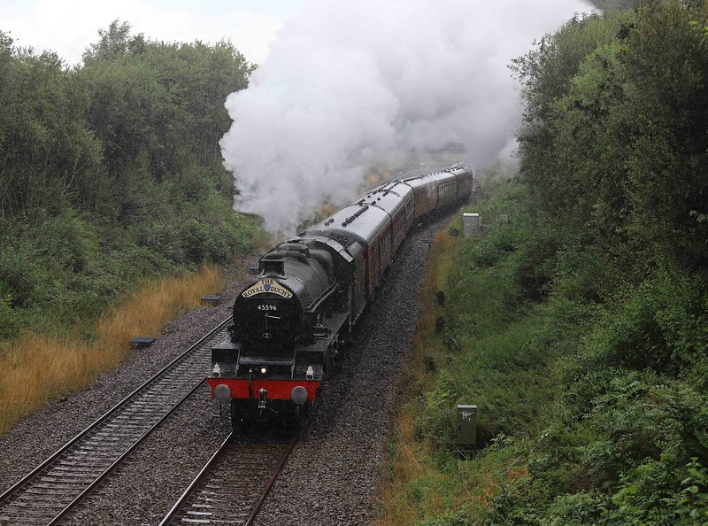 45596, 08.46 Slough-Par, The Royal Duchy, departing Tiverton Loops, Willand, near Tiverton, 1-8-21. The Jubilee worked the Taunton-Par-Taunton legs of the tour. 47772 worked train to and from Taunton.