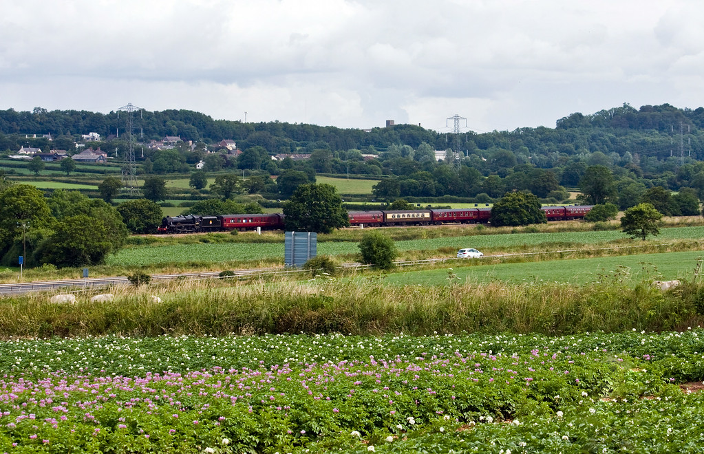 45407, 08.48 Bristol Temple Meads-Par, The Royal Duchy, Pugham Crossing, near Burlescombe, 6-7-14.