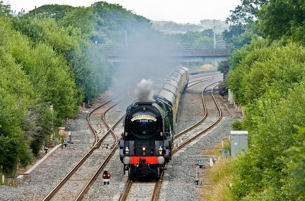 34046, 09.15 Bristol Temple Meads-Kingswear, The Torbay Express, Willand, near Tiverton, 6-7-14.