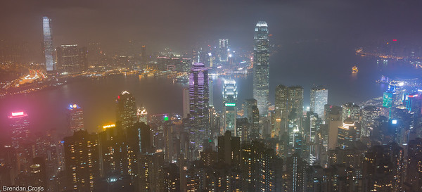 This shot and the following photo are unfortunately the best ones I took from Victoria Peak. Myself and about 25 other frusturated amateur photographers with tripods hung around and tried to make the most of the skyline despite the weather. It was still fun walking around Lugard Road - the views are just extraordinary.