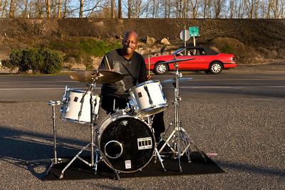 Roadside Drummer   Jimmy Hardin; Hwy 30, Portland Oregon