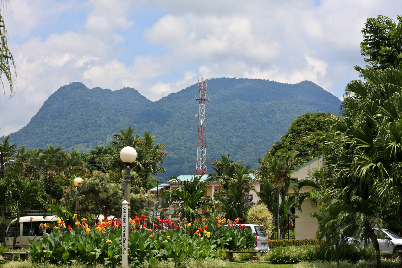 View of the Sleeping Indian mountain from the park in La Fortuna, Costa Rica.  Vulcan Arenal is to the right in this picture.