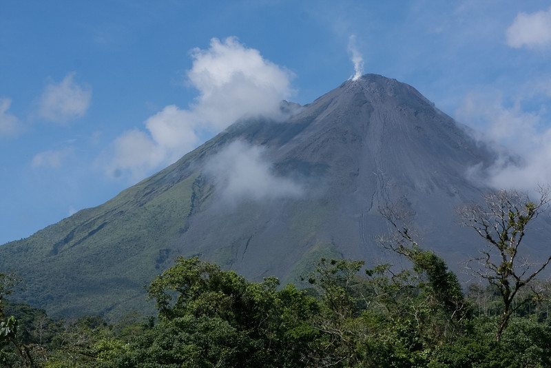 Vulcan Arenal (view from our front porch where we stayed).  No activity other than constant steam from volcano.