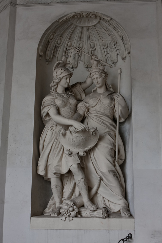 Close up of a sculpture at the entrance of Hofburg palace.