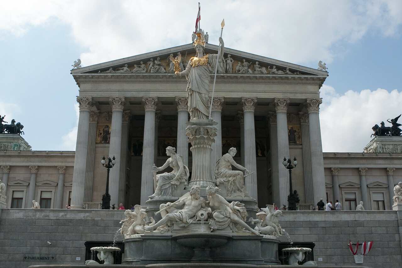 Statue of Athena of Nike with Nike on her right hand in front of the parliament in Vienna.