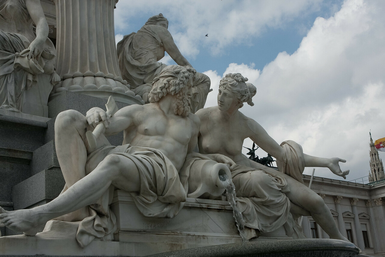 Part of an elaborate sculpture in front of the parliament in Vienna.