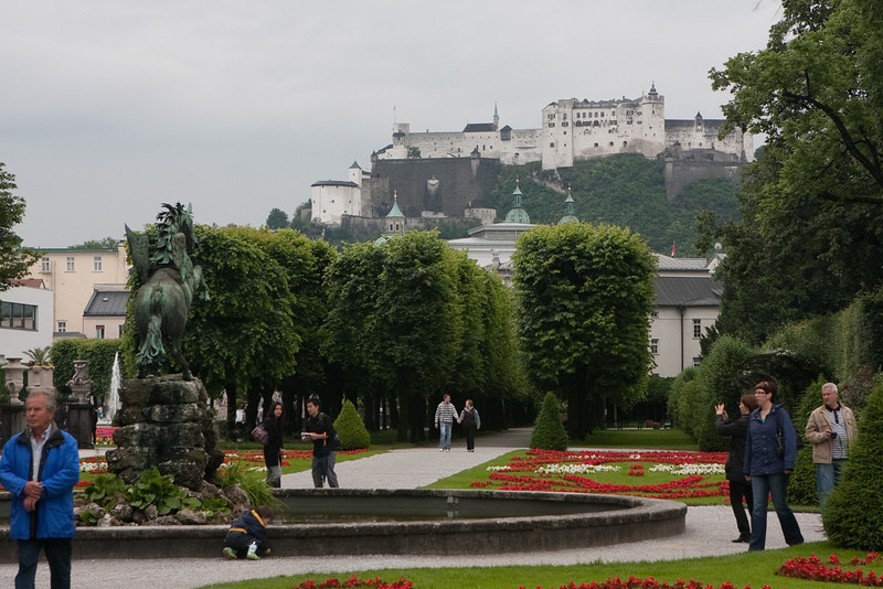 View of HohenSalzburg fortress up on the hill from the Mirabelle gardens (one of the 'Sound of Music' venue).