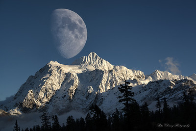 Moon over Mt. Shuksan