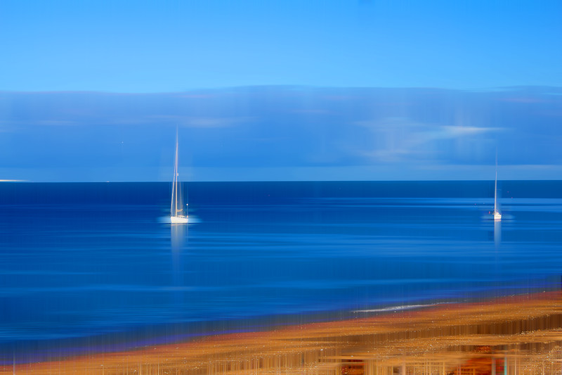 Yachts at Sea at Slapton Sands Devon