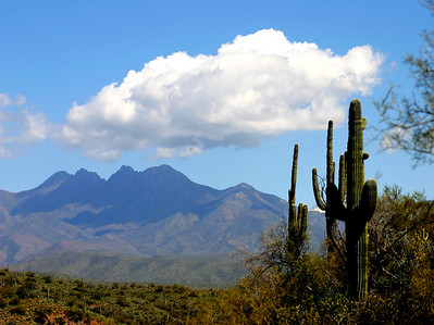 """Four Peaks,"" a familiar Arizona landmark east of Mesa."