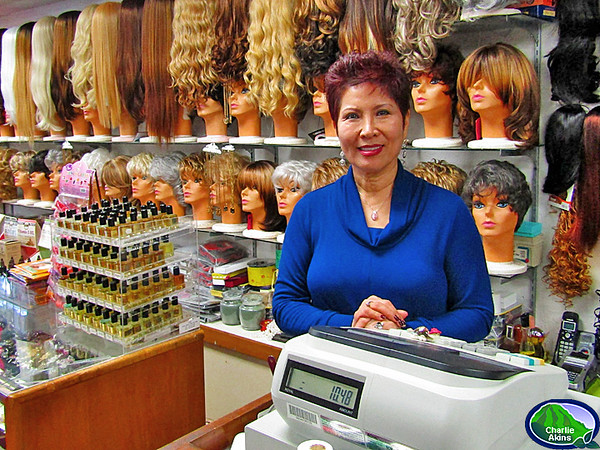 I saw this nice lady at The Wig Center.