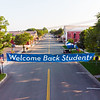 Welcome Back Students sign main street KW Move-In Day