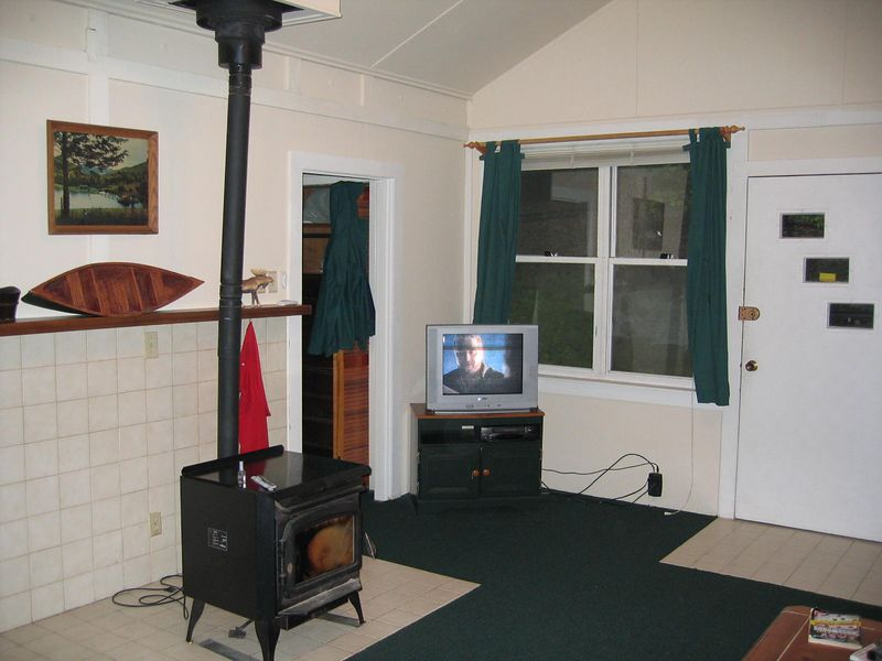 The fireplace and TV