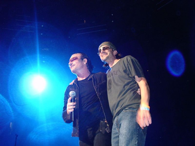 Bono and his lookalike fan Gabriel