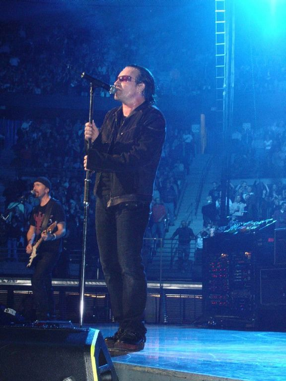 The Edge and Bono singing