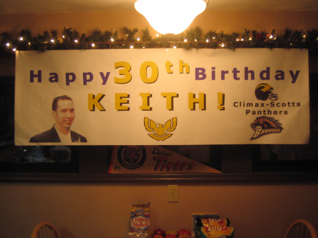 Keith's birthday banner (before the party)