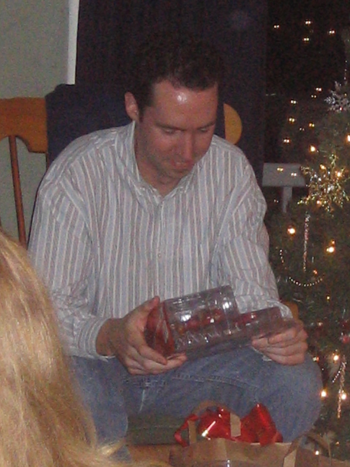 Keith opening gifts