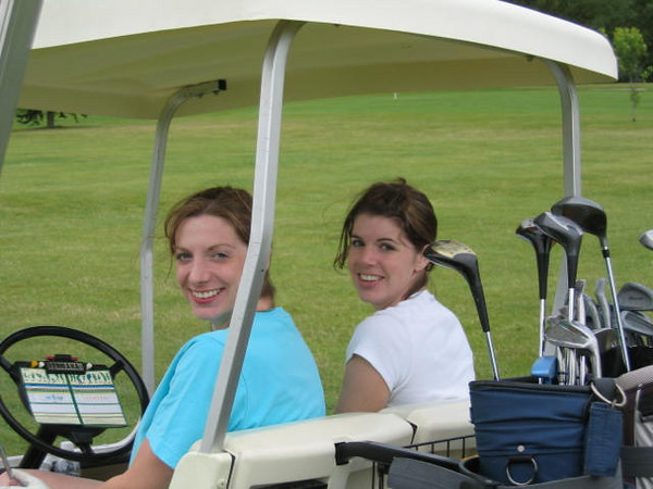 Kelly and Mindy in the cart