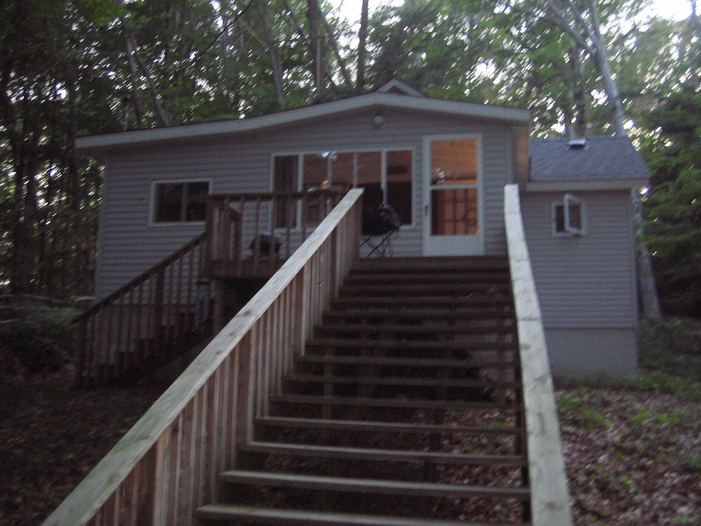 exterior of cabin, up the steps