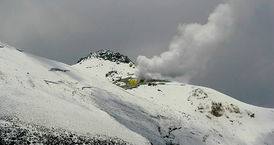 Fumaroles of Guallatire Volcano.  Fumarole refers to the opening which emits steam and gases (carbon dioxide, sulfur dioxide, hydrochloric acid, and hydrogen sulfide).