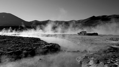 Morning at the Hot Springs of Salar de Surire. Chile