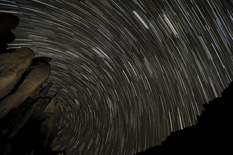 Multiple exposure star trails in Bonita Canyon.