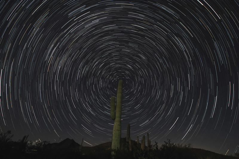multiple exposure time laps with north star positioned at top of the saguaro cactus.
