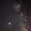Jupitar and Saturn beside the Milky Way.   Satellites streaking by