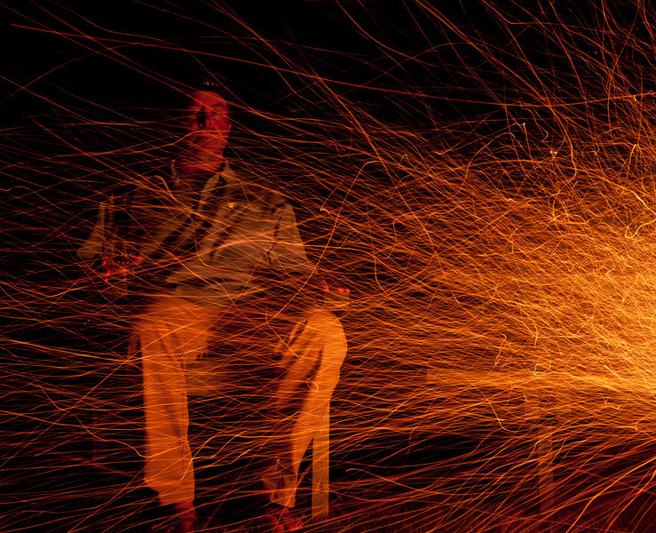 long exposure with wind driven sparks.