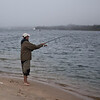 Aaron blind casting (no fish showing) for false albacore.