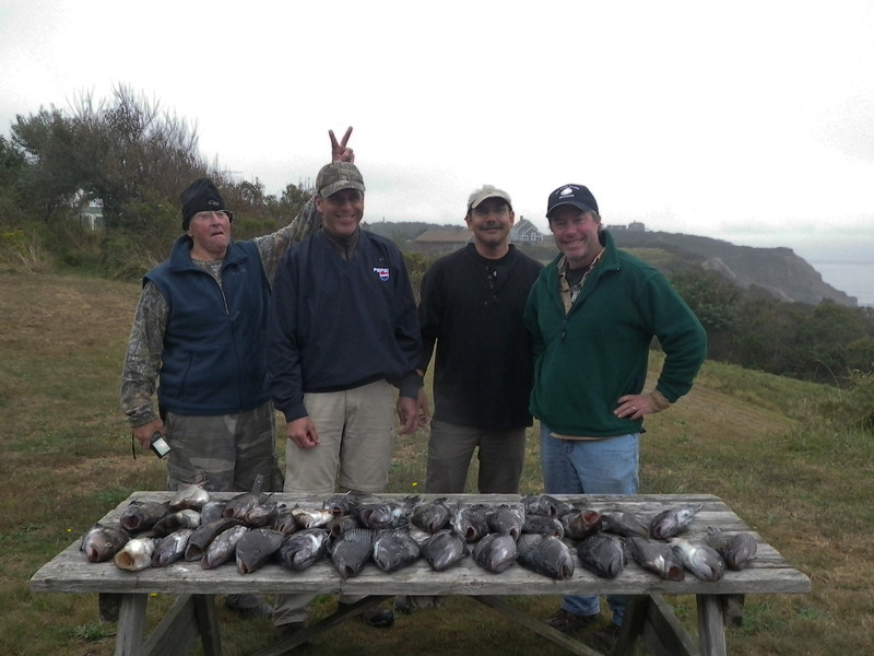 Rich, Paul, Jim and Bob after a great afternoon on Paul's boat catching sea Bass.