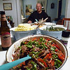 Thursdays meal was mashed potatos, string beans, and a quick Chinese dish thrown together in place of the planned striped bass meal that was a no show.  Ken tried to get some, but none were found after many hours of diving.