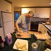 Steve preparing fish for tacos.