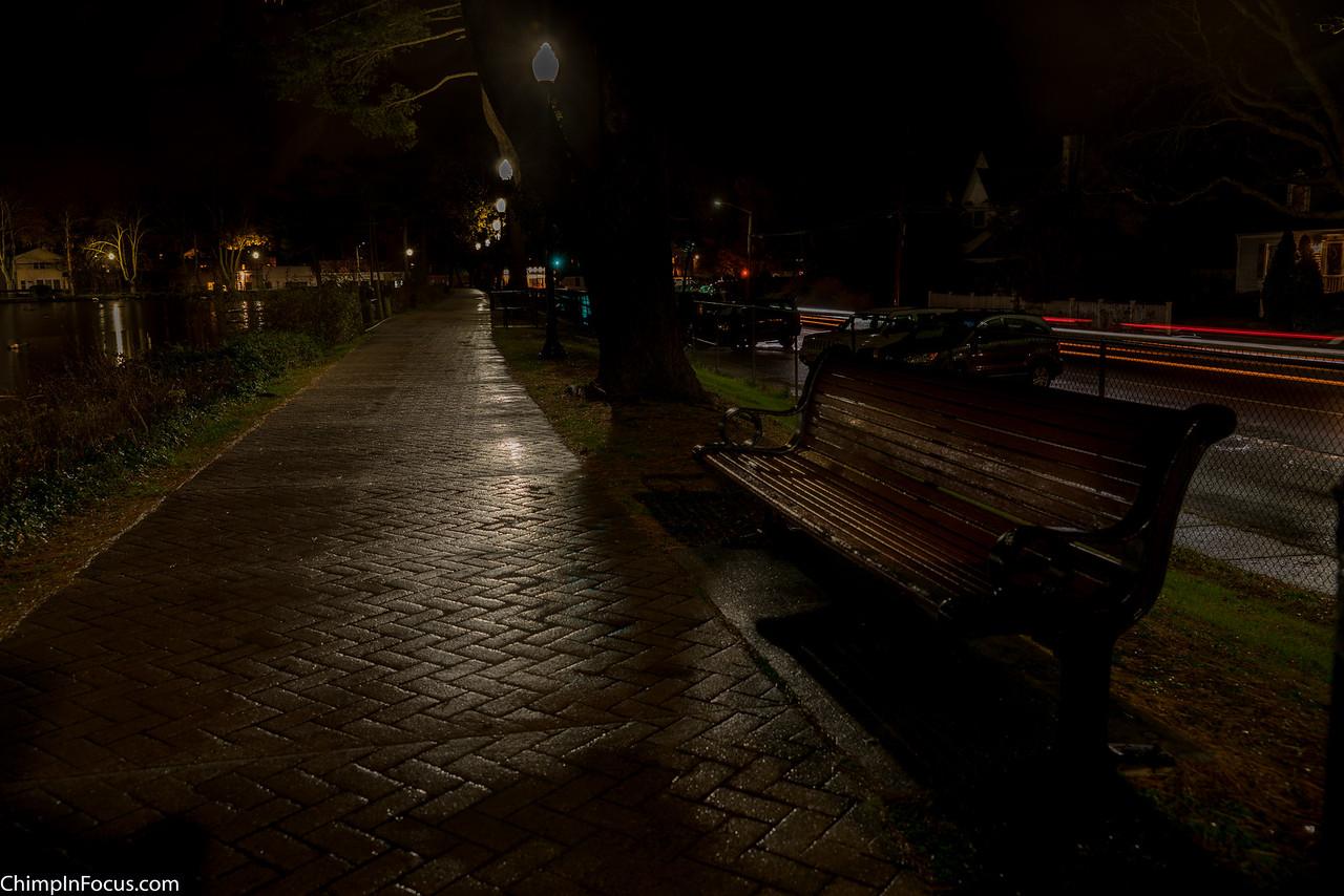 Pathway on a rainy night