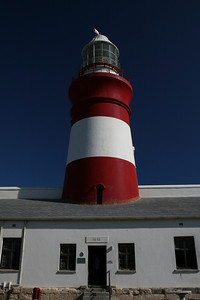 Cape L'Agulhas Lighthouse at the southern most tip of Africa where the Indian and Atlantic oceans meet.