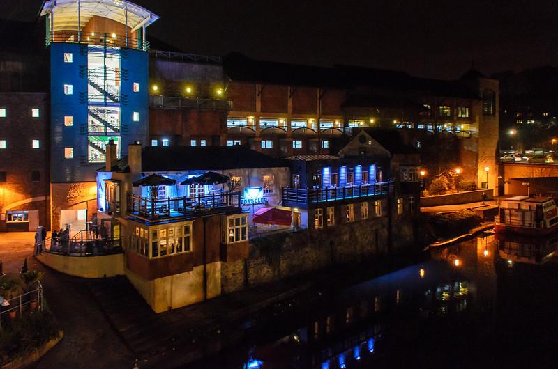 The Boat Club c. 1500's building mated to modern Elvet Riverside - Durham, England, UK