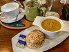 Carrot & Cardamom Soup, Cheese Scone with Butter & Hot Tea @ Cafe On The Green - Durham, UK