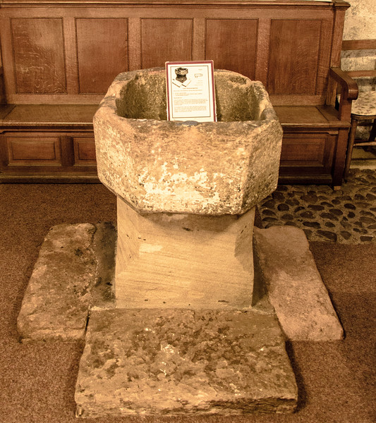 Octagonal Baptisma Font made from a Roman pillar @ Escomb Saxon Church - Escomb village near Bishop Auckland, England, UK