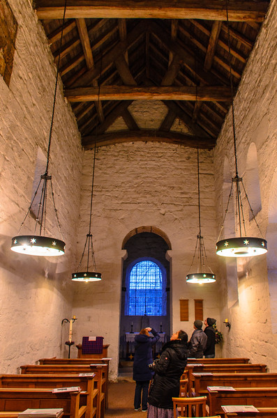 Interior of Escomb Saxon Church - Escomb village near Bishop Auckland, England, UK