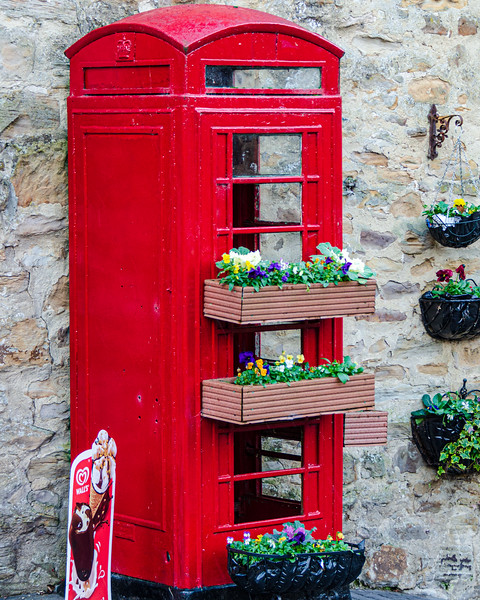 Phone Booth & Flowers @ Finchale Priory - Framwellgate Moor, County Durham, England, UK