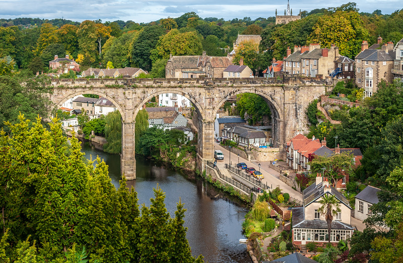 View of Knaresborough Viaduct c. 1851 and the River Nidd from Knaresborough Castle - Knaresborough, England, UK