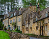 Dry Stone Wall & Cotswold Stone Cottages - Snowshill, England, UK