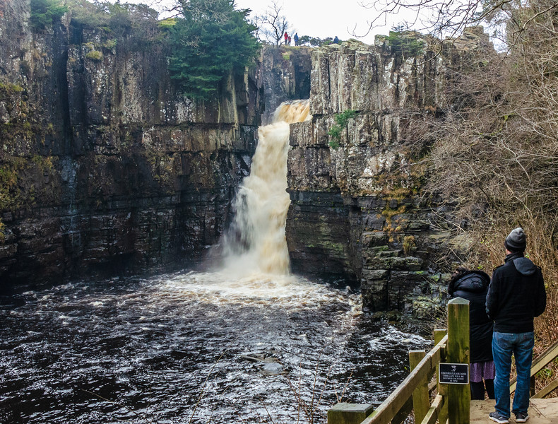 Couple viewing High Force - Forest-in-Teesdale, County Durham, England, UK